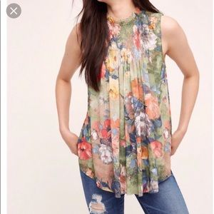Anthropologie deletta smocked mock neck floral top